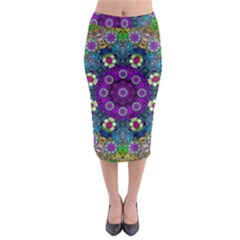 Colors And Flowers In A Mandala Midi Pencil Skirt