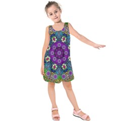 Colors And Flowers In A Mandala Kids  Sleeveless Dress