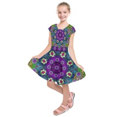 Colors And Flowers In A Mandala Kids  Short Sleeve Dress