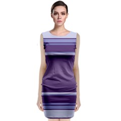 Purple Stripe Pattern Classic Sleeveless Midi Dress