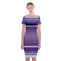 Purple Stripe Pattern Classic Short Sleeve Midi Dress