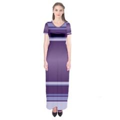 Purple Stripe Pattern Short Sleeve Maxi Dress