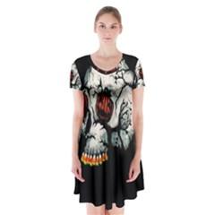 Halloween Skull Short Sleeve V Neck Flare Dress