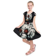 Halloween Skull Kids  Short Sleeve Dress