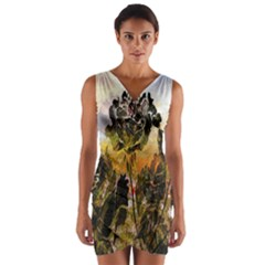 Abstract Digital Art  Wrap Front Bodycon Dress