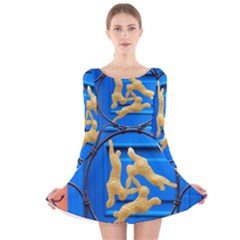 Animal Hare Hare Window Gold Long Sleeve Velvet Skater Dress
