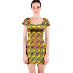 Background Tile Kaleidoscope Short Sleeve Bodycon Dress
