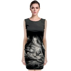 Nativity Scene Birth Of Jesus With Virgin Mary And Angels Black And White Litograph Classic Sleeveless Midi Dress