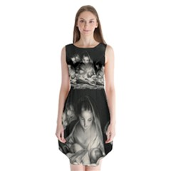 Nativity Scene Birth Of Jesus With Virgin Mary And Angels Black And White Litograph Sleeveless Chiffon Dress