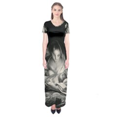 Nativity Scene Birth Of Jesus With Virgin Mary And Angels Black And White Litograph Short Sleeve Maxi Dress