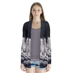 Nativity Scene Birth Of Jesus With Virgin Mary And Angels Black And White Litograph Drape Collar Cardigan