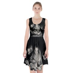 Nativity Scene Birth Of Jesus With Virgin Mary And Angels Black And White Litograph Racerback Midi Dress