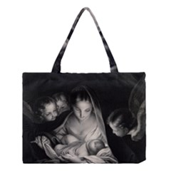 Nativity Scene Birth Of Jesus With Virgin Mary And Angels Black And White Litograph Medium Tote Bag