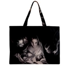 Nativity Scene Birth Of Jesus With Virgin Mary And Angels Black And White Litograph Medium Zipper Tote Bag
