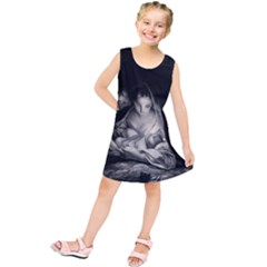 Nativity Scene Birth Of Jesus With Virgin Mary And Angels Black And White Litograph Kids  Tunic Dress