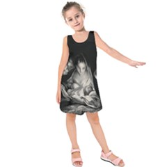 Nativity Scene Birth Of Jesus With Virgin Mary And Angels Black And White Litograph Kids  Sleeveless Dress