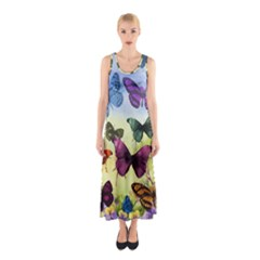 Butterfly Painting Art Graphic Sleeveless Maxi Dress