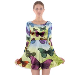 Butterfly Painting Art Graphic Long Sleeve Skater Dress