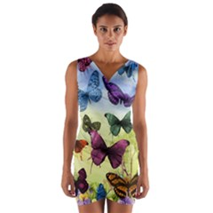 Butterfly Painting Art Graphic Wrap Front Bodycon Dress