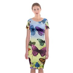 Butterfly Painting Art Graphic Classic Short Sleeve Midi Dress