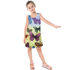 Butterfly Painting Art Graphic Kids  Sleeveless Dress