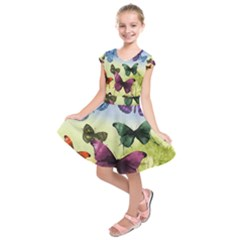 Butterfly Painting Art Graphic Kids  Short Sleeve Dress