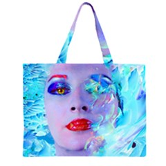 Swimming Into The Blue Zipper Large Tote Bag