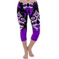 Sugar Skull Purple Roses Capri Yoga Leggings