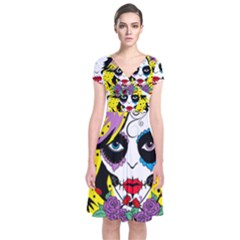 Gothic Sugar Skull Short Sleeve Front Wrap Dress