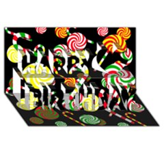 Xmas candies  Happy Birthday 3D Greeting Card (8x4)
