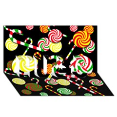 Xmas Candies  Hugs 3d Greeting Card (8x4)
