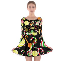 Xmas candies  Long Sleeve Skater Dress