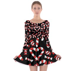 Christmas Candy Canes  Long Sleeve Skater Dress