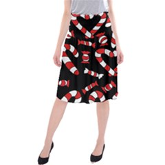 Christmas Candy Canes  Midi Beach Skirt