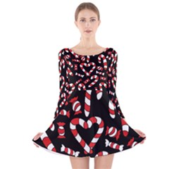 Christmas Candy Canes  Long Sleeve Velvet Skater Dress