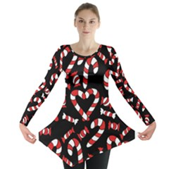 Christmas Candy Canes  Long Sleeve Tunic