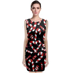 Christmas Candy Canes  Classic Sleeveless Midi Dress