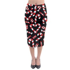 Christmas Candy Canes  Midi Pencil Skirt