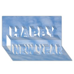 Wavy Clouds Happy New Year 3D Greeting Card (8x4)
