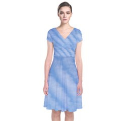 Wavy Clouds Short Sleeve Front Wrap Dress