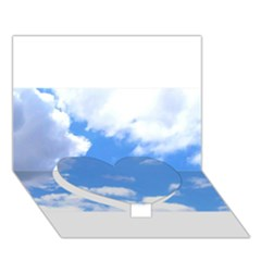Clouds And Blue Sky Heart Bottom 3d Greeting Card (7x5)