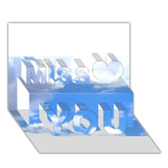Clouds and blue sky Miss You 3D Greeting Card (7x5)