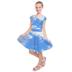 Clouds And Blue Sky Kids  Short Sleeve Dress