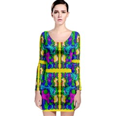 Shimmering Landscape Abstracte Long Sleeve Bodycon Dress