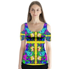 Shimmering Landscape Abstracte Butterfly Sleeve Cutout Tee