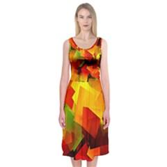 Indian Summer Cubes Midi Sleeveless Dress