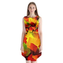 Indian Summer Cubes Sleeveless Chiffon Dress