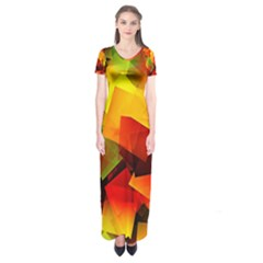 Indian Summer Cubes Short Sleeve Maxi Dress