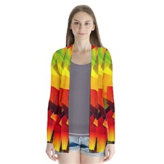 Indian Summer Cubes Drape Collar Cardigan