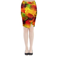 Indian Summer Cubes Midi Wrap Pencil Skirt